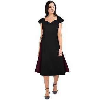 שיק כוכב פלוס גודל פאנל שמלה גותית בשחור / בורגונדי