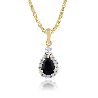 9ct Yellow Gold 0.77ct Natural Sapphire & Diamond Pear Cluster Pendant on Chain