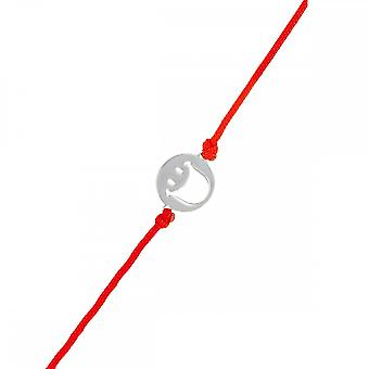 Smiley silver cord bracelet and red cord 'apos;Happy's;