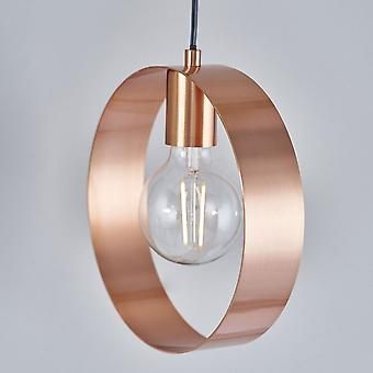 Endon Lighting Hoop Pendant Light In Brushed Copper