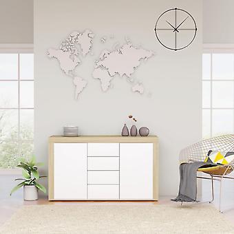 vidaXL buffet blanc Sonoma-Chêne 120×36×69 cm Panneau de particules