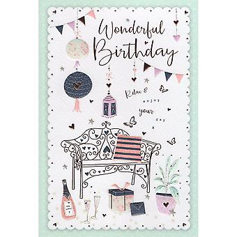 ICG Ltd Open Birthday Card Palladium Range - Bench