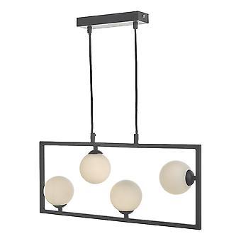 DAR ENSIO Anhänger Licht Matt schwarz & Opal Glas, 4x G9
