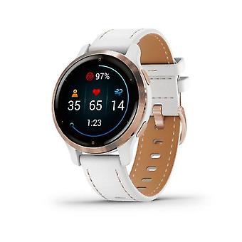 Garmin fitness watch Venu®2S white/rose gold with leather bracelet 010-02429-23