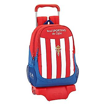 Backpack Real Sporting De Gijon Official, School, With Trolley Safta