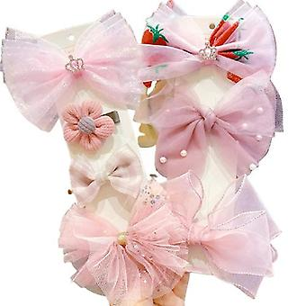 7pcs Hairpin Bows Hair Clips Head Accessories Set For Baby Girls Gift