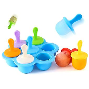Mini Silicone Popsicles Mold 7 cavity DIY Baby Food Storage Container Ice Trays(16cm*3.5*4cm,Blue)