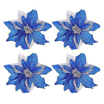25Cm blue 4pcs fake vivid flower decoration diy christmas ornament simulation flower adornment for party christmas dt3075