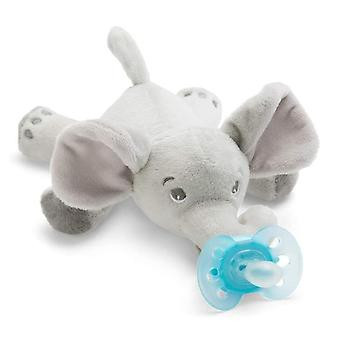 Pacifier Holde, Suitable For All Ages, Elephant Plush Toy Includes Detachable Pacifier