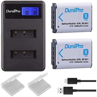 2Packs NP-BX1 NP BX1 NPBX1 Battery + LCD Dual USB Charger for Sony DSC-RX100 DSC-WX500 IV HX300