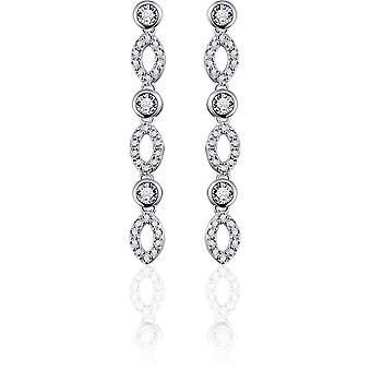 Gisser Jewels - Örhängen - Hängande Örhängen Fantasy set med Zirconia - 35mm x 5mm - Gerhodineerd Zilver 925