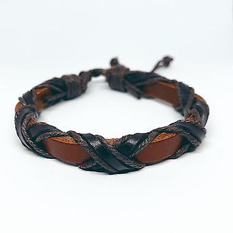 Bracelet brun/orange en cuir véritable avec des rubans sombres