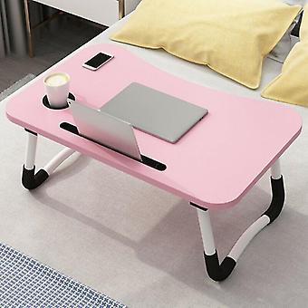 (Roze) Draagbare verstelbare opvouwbare laptop bureau opvouwbare studie computer bed tafelstandaard