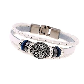 Braided Rope Faux Leather Unisex Bracelet Star Sign White