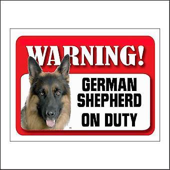 SE034 Warning German Shepherd On Duty Sign with Dog