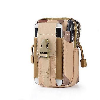 Los hombres viajan Camping Cintura Bolsa de bolsillo pequeño paquete de cintura corriendo cinturón de bolsa (#05 camuflaje amarillo)
