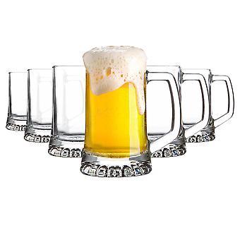 6x Stern Tankard Glass Beer Mugs Classic German Style Pale Ale Stein Tankard 270ml