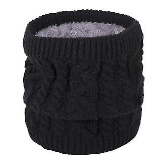 Neck gaiters warm scarf in winter, all-match knitted scarf for couples, pure color plus velvet scarf(black) #722