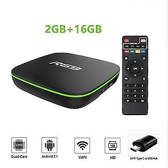 R69 tv box android 7.1 allwinner h3 négymagos 1g8g 2g16g 2.4ghz wifi 1080p hd otthoni okos média