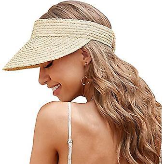 sommer håndlaget vevd raffia halm sol visir lue tom topp strand cap