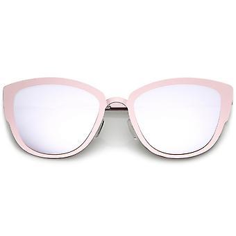 Premium-Oversize Metal Cat-Eye-Sonnenbrille mit farbigen Spiegel Objektiv 54mm