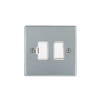 Hamilton Litestat Hartland Satin Chrome 1g 13A DP Fused Spur WH/WH