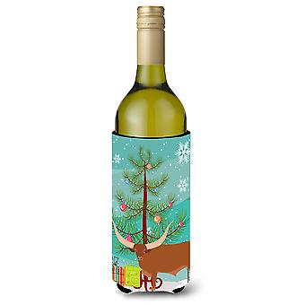 Ankole-Watusu Cow Christmas Wine Bottle Beverge Insulator Hugger