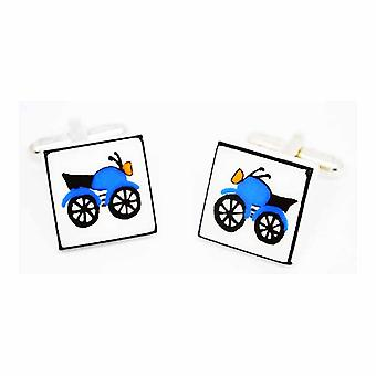 Sonia Spencer Blue Motorcycle Cufflinks - English Bone China Hand Crafted Cuff Links