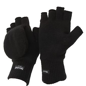 FLOSO Unisex Mens/Womens Thinsulate Thermal Capped Winter Fingerless Gloves (3M 40g)