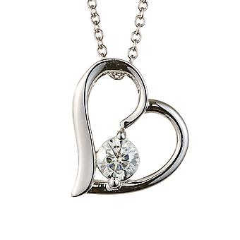 Forever Classic Round 4.5mm Moissanite Tilted Heart Pendant Necklace, 0.33ct DEW