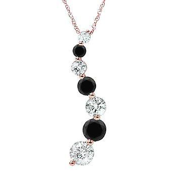 14k ouro rosa Rose ct de 1/2 Black & White do jornada pingente de diamante