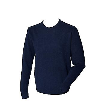 Henbury Mens Long Sleeve Crew Neck pull lambswool de chandail tricoté marine, noir
