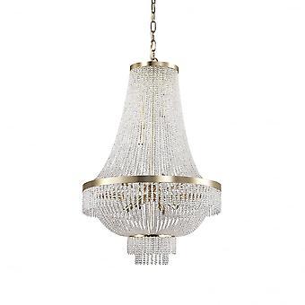 Ideal Lux Augustus 12 lampa guld vattenfall kristallkrona