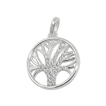 Кулон 15 мм дерево жизни цирконы серебро 925