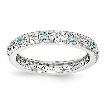 3mm 925 סטרלינג כסף מלוטש הגדר מצופה רודיום ביטויים הערמה כחול טופז הטבעת תכשיטים מתנות לנשים