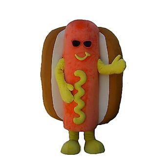 SPOTSOUND of orange, yellow and Brown giant hot dog mascot