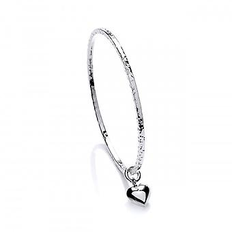 Cavendish francese argento Diddy cuore fascino battuto Bangle
