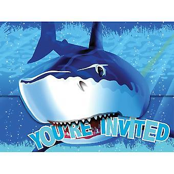 Shark Shark Party invitatii cu plicuri 8 piese Shark Shark Party copii ziua de nastere decorare