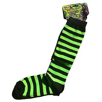 Witch Wicked Green Black Striped Socks Women Costume Leggings