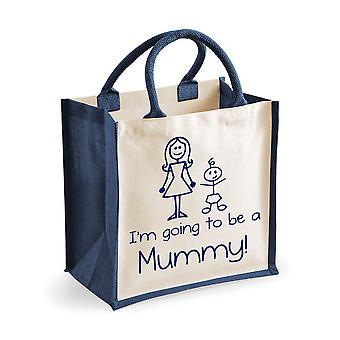 Medium Navy Jute Bag I'm Going To Be A Mummy