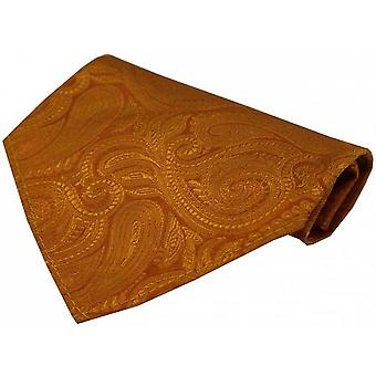 David Van Hagen Luxury Paisley Silk Handkerchief - Orange