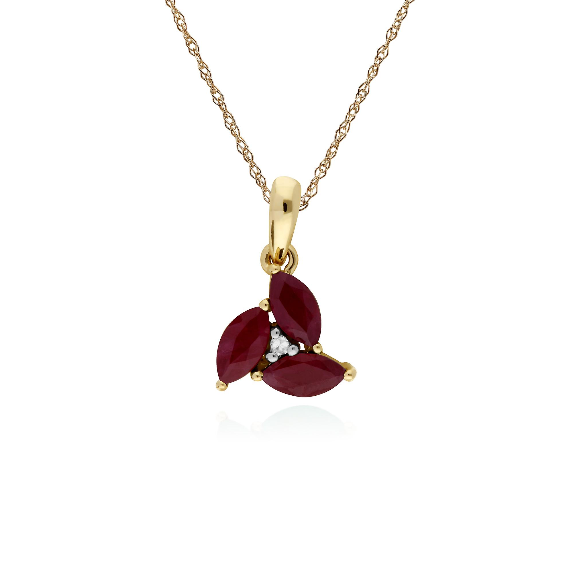 Gemondo 9ct Yellow Gold Ruby & Diamond Marquise Cluster Pendant with 45cm Chain