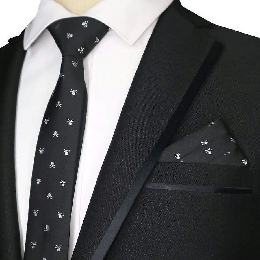 Black & white skull pattern skinny tie & pocket square