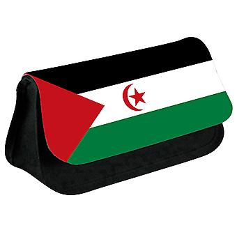 Western Sahara Flag Printed Design Pencil Case for Stationary/Cosmetic - 0238 (Black) by i-Tronixs