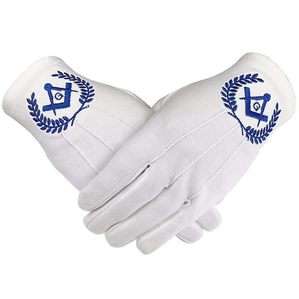 Masonic Regalia 100% Cotton Gloves Square Compass and G - Blue