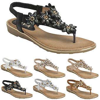Womens Summer Beach Strappy Floral Holiday Flat Summer Wedge Heel Sandals UK 3-8