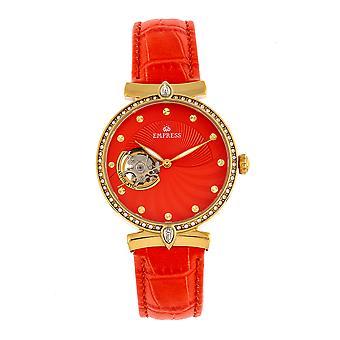 Empress Edith Semi-Skeleton Leather-Band Watch - Orange