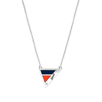 Detroit Tigers Engraved Sterling Silver Diamond Geometric In Necklace Blue and Orange