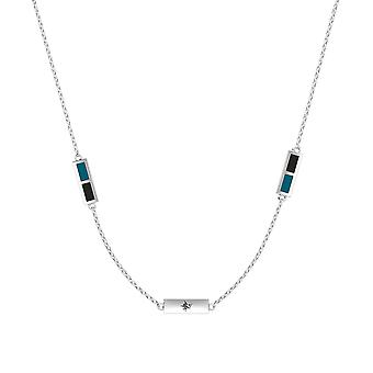 San Jose Sharks Sterling Silver Engraved Triple Station Necklace In Blue Green and Black