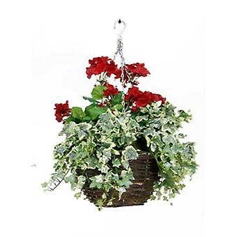 Artificial Silk Geranium Hanging Basket